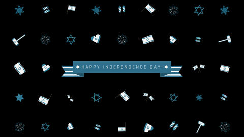 Israel Independence Day holiday flat design animation… Stock Video Footage