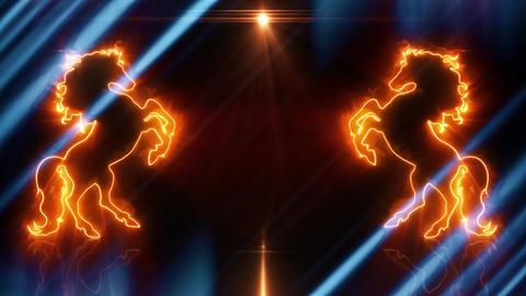 Orange Blue Neon Rearing Horse Intro Logo Animated Background Loopable Animation