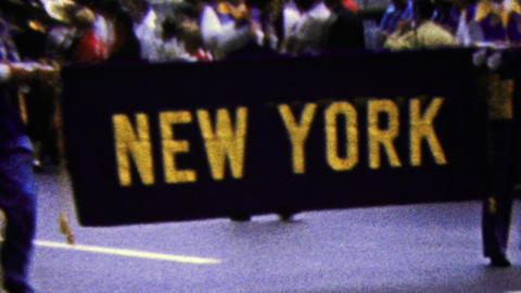 1960: New York state parade introduction sign marching band Live Action