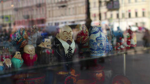 Anonymous crowd reflection in a shop window Footage