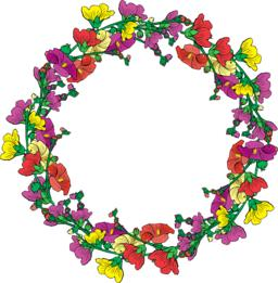 wreath of flowering branches with pink, red and yellow buds mall Vector