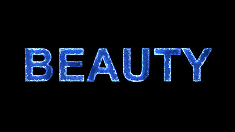 Blue lights form luminous text BEAUTY. Appear, then disappear. Electric style Animation