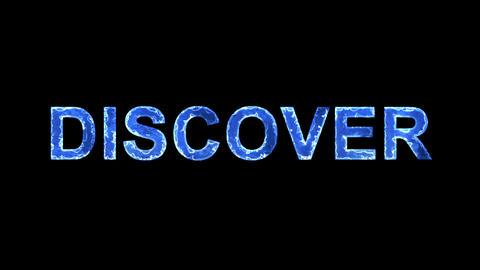 Blue lights form luminous text DISCOVER. Appear, then disappear. Electric style Animation