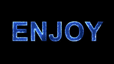 Blue lights form luminous text ENJOY. Appear, then disappear. Electric style Animation