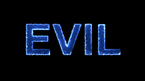 Blue lights form luminous text EVIL. Appear, then disappear. Electric style Animation