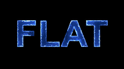 Blue lights form luminous text FLAT. Appear, then disappear. Electric style Animation