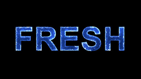 Blue lights form luminous text FRESH. Appear, then disappear. Electric style Animation