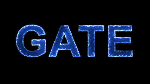 Blue lights form luminous text GATE. Appear, then disappear. Electric style Animation