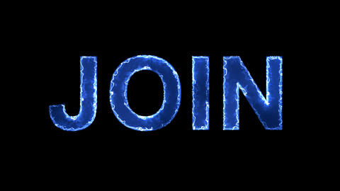 Blue lights form luminous text JOIN. Appear, then disappear. Electric style Animation