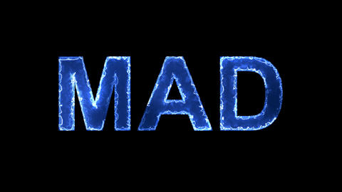 Blue lights form luminous text MAD. Appear, then disappear. Electric style Animation