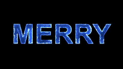 Blue lights form luminous text MERRY. Appear, then disappear. Electric style Animation