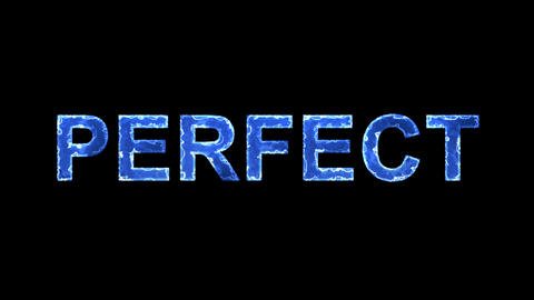 Blue lights form luminous text PERFECT. Appear, then disappear. Electric style Animation