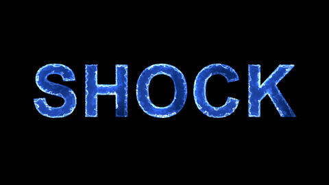 Blue lights form luminous text SHOCK. Appear, then disappear. Electric style Animation