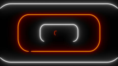 Many neon rounded rectangles in black space, abstract computer generated Live Action