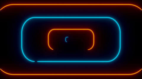Many neon rounded rectangles in black space, abstract computer generated Footage