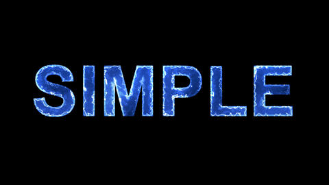 Blue lights form luminous text SIMPLE. Appear, then disappear. Electric style Animation