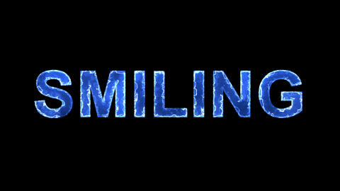 Blue lights form luminous text SMILING. Appear, then…, Stock Animation