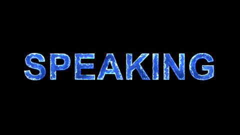 Blue lights form luminous text SPEAKING. Appear, then disappear. Electric style Animation
