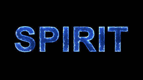 Blue lights form luminous text SPIRIT. Appear, then disappear. Electric style Animation