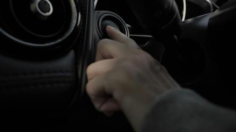 Finger press engine starting button car Live Action