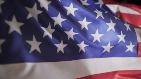 United States of America flag flapping in the wind, slow motion Live Action
