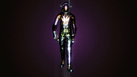 Sci-fi Astronaut in an unusual costume. Loopable animation Animation