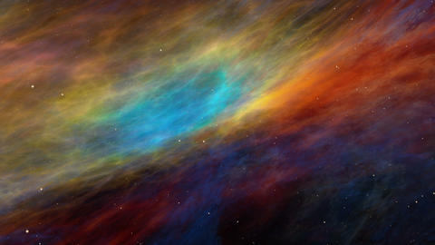 Colorful Space Nebula and Stars, Travelling Across the Universe Animation