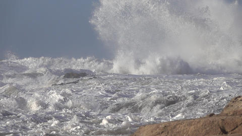atlantic ocean big waves over cliffs, slowmo Footage