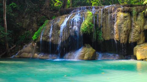 Erawan waterfalls, beautiful evergreen paradise of the Middle travelers Footage
