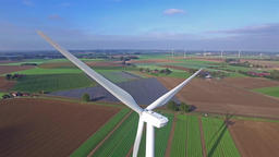 Aerial view on Wind Power, Turbine, Windmill, Energy Production - Clean and Footage