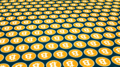Bitcoin cryptocurrency rotating coins background Animation
