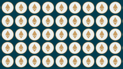 Etherium cryptocurrency horisontal traffic coins background Animation