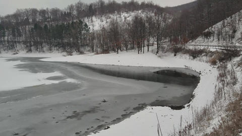 The surface of the frozen lake Live Action
