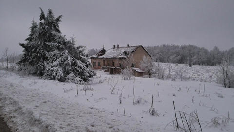 Old abandoned house in the winter Footage