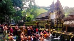Bathe is in Tirta Empul Temple,Bali Footage