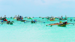 Boats are in Jimbaran Bay,Bali Videos de Stock