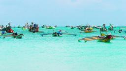 Boats are in Jimbaran Bay,Bali Footage