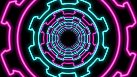 Abstract Multicolored Cogwheel Shaped Tunnel Animation