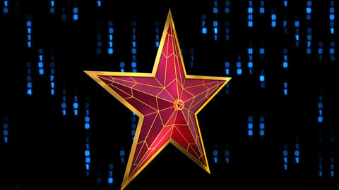Red star and binary code Animation