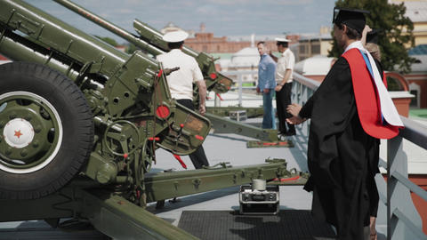 Army officer repetition how cannon works to graduating students Footage
