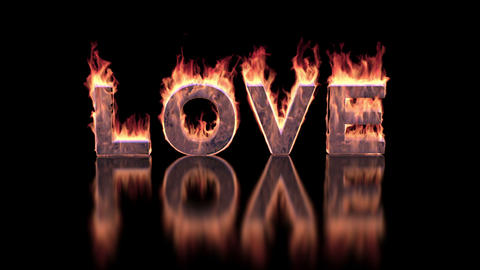 love text burning in fire on glossy surface Animation