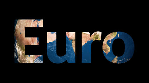 Text Euro revealing turning Earth globe Footage