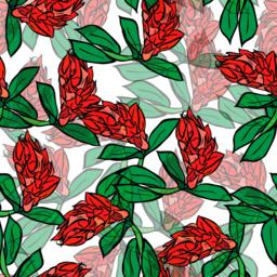 branch with red flowers and green leaves, seamless pattern Vector