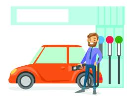 Man filling up fuel into the car at a gas station Vector