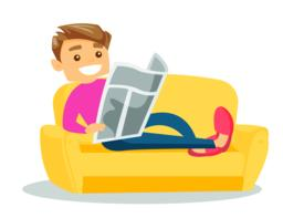 Man laying on the couch and reading a newspaper Vector