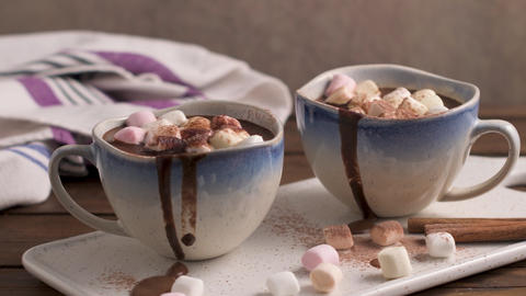 Hot chocolate drink with marshmallows Live Action