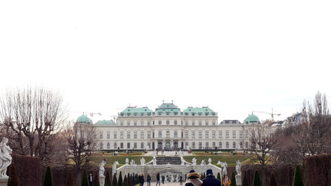 winter tracking shot on Belvedere, Vienna Austria Image