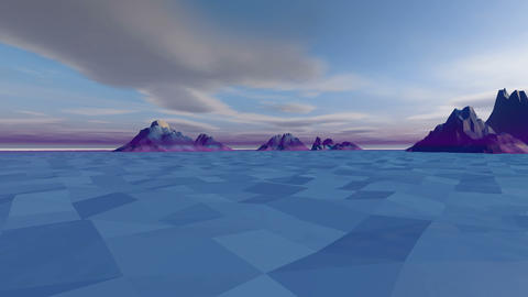 Low poly, Hilly and Snowy Landscape at Sunset CG動画素材