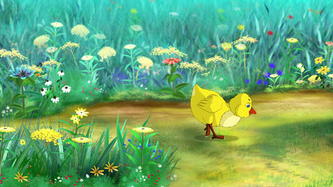 Yellow Chicken Walks and Pecks Animación