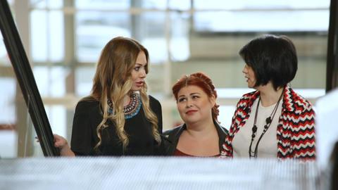 Women Talk Going up Escalator in Shopping Center Footage
